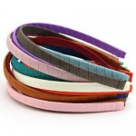 "12pc 3/8"" Ribbon Wrapped 10mm Plastic Headband Solid Grosgrain Assorted Colors"