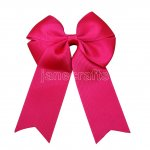 "12pcs 4"" Tails Down Solid Grosgrain Cheer Bow/Cheerleading Bows NO CLIP-Shocking Pink"