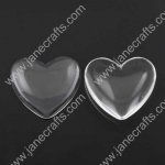 50pcs Dia 12mm Clear Glass Cabochons, Transparent,Cabochon Heart Flat Back for Jewelry and Cabochon Settings(JS-GC014)
