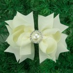 "12pcs 4"" Hair Bows with Pearl Rhinestone Center With Clips-Cream"