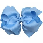 12pcs 4 inch layered boutique bow clip-blue mist