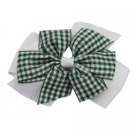 12 pcs school color white / green gingham 4 inch layered pinwheel bow w/ alligator clip
