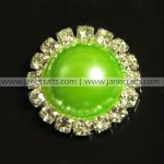 50pcs 21mm Round Metal Rhinestone Pearl Button Flatback Apple Green