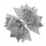 "12pcs 4.5"" Chevron Spike Hair Hair Bows NO CLIP-Silver"