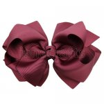 12pcs 4 inch layered boutique bow clip-burgundy