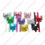 10pcs Sequin Hair Bow with Bead Center Hair Bands 10 Colors