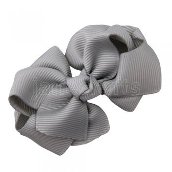 12pcs 2.5 inch layered boutique bow clip-shell grey