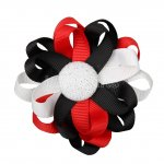 "12pcs 3"" Flower Loop Hair Bow NO Clip-Black/Red/White"
