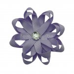 "12pcs 3"" Layered Flower Loop Hair Bows NO CLIP with Rhinestone Center-Lt Orchid"