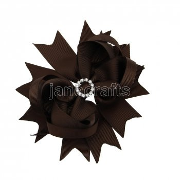 12pcs 4.5  Bling Spike Hair Bows with Rhinestone Slider Center Without Clips-Brown