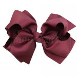 12pcs 5 inch layered boutique bow clip-burgundy