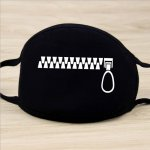 5pcs Zipper Pattern Face Mouth Mask Unisex Mouth-muffle Cartoon Cotton Masks Outdoor Health Care Masks