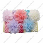9pcs Big Chiffon Flower Crochet Baby Headband Set 9 Colors
