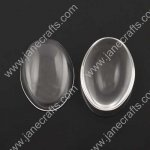 50pcs 14*10mm Clear Glass Cabochons, Transparent,Cabochon Oval Flat Back for Jewelry and Cabochon Settings(JS-GC019)