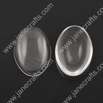 50pcs 40*30mm Clear Glass Cabochons, Transparent,Cabochon Oval Flat Back for Jewelry and Cabochon Settings(JS-GC023)