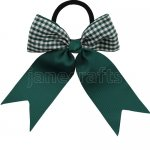 12 pcs school color hunter green / green gingham 3.5 inch cheerleading bow w/ pony tail holder