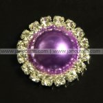 50pcs 21mm Round Metal Rhinestone Pearl Button Flatback Purple