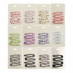 "48 pcs 2.5"" printed thick snap clips mix color pack"