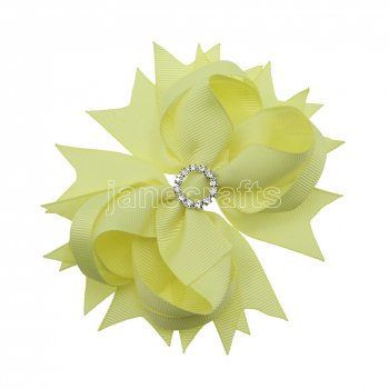 12pcs 4.5  Bling Spike Hair Bows with Rhinestone Slider Center Without Clips-Baby Maize