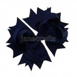 "12pcs 4.5"" Solid Spike Hair Bows NO CLIP-Navy"
