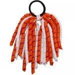 12 pcs school color white / orange grosgrain 6 inch long korker bow w/ pony tail holder