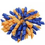 12 pcs school color royal / gold grosgrain 5 inch korker bow w/ lined clips