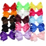 15pcs 5.5 inch Big Boutique Grosgrain Hair Bow Clips Mix 15 Color