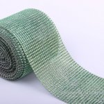 "4.6"" Wedding Diamond Mesh Wrap Roll Sparkle Rhinestone Looking Ribbon 10 yard-Aqua"