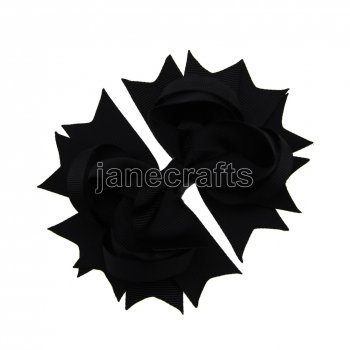 12pcs 4.5  Solid Spike Hair Bow Clips-Black