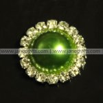 50pcs 21mm Round Metal Rhinestone Pearl Button Flatback GREEN