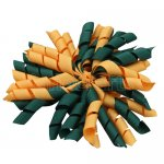 12 pcs school color hunter green / gold grosgrain 5 inch korker bow w/ lined clips