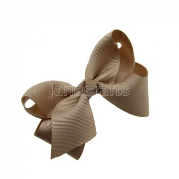 12pcs 3.5  Solid Grosgrain Chunky Boutique Hair Bows Without Clip-Tan