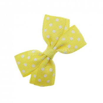 12pcs 2  Swiss Dot Pigtail Hair Bows NO CLIP-Lemon with white