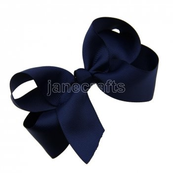 12pcs 4.5  Solid Grosgrain Chunky Boutique Hair Bows With Clips-Navy School Spirit