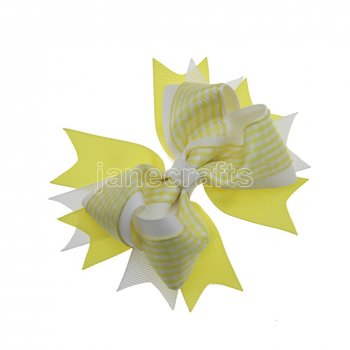 12pcs 4.5  Gingham Layered Spike Hair Bow Without Clip- Yellow