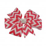 "12pcs 3"" Chevron Grosgrain Pinwheel Hair Hair Bows NO CLIP-Shocking Pink"