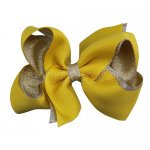 12pcs 4.5 inch silver layered boutique bow clip-maize