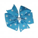 "12pcs 4"" Polka Dot Pinwheel Hair Bow Clips-Turquoise with White"