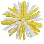 12 pcs school color white / yelloww gingham 5 inch korker bow w/ lined clips