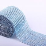 "4.6"" Wedding Diamond Mesh Wrap Roll Sparkle Rhinestone Looking Ribbon 10 yard-Lt Sapphire"