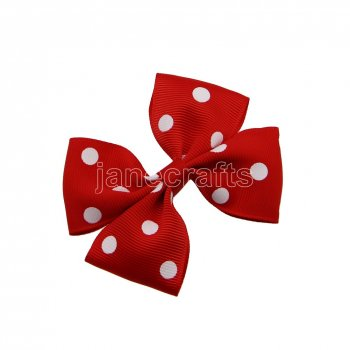 12pcs 3.5  Medium Grosgrain Pinwheel Hair Bows without Clip-Poppy Red with White Dot