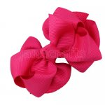 12pcs 2.5 inch layered boutique bow clip-shocking pink