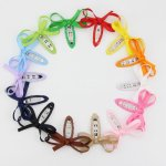 "28 pcs 2.5"" slim boutique bow snap clips mix 14 colors"