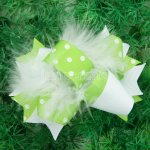 "12pcs 4"" Feather Hair Bows NO CLIP-Apple Green"