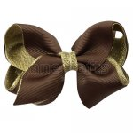 12pcs 3.5 inch gold layered boutique bow clip-brown