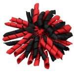 12 pcs school color black / red grosgrain 5 inch korker bow w/ lined clips