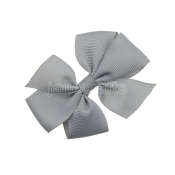 12pcs 3  Solid Daily Pinwheel Hair Bow Clips-Shell Grey