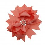 "12pcs 4.5"" Bling Spike Hair Bows with Rhinestone Slider Center With Clips-Lt Coral"