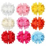 "4.5"" Solid Stacked Spike Hair Bow Clips Mix COLOR 9 pcs in 9 color"
