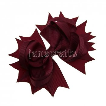 12pcs 4.5  Solid Spike Hair Bows NO CLIP-Burgundy